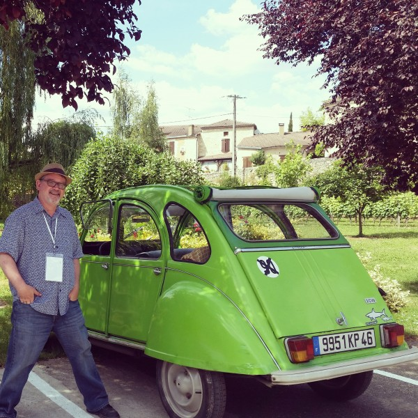 RJ with circa 1960 Citroën convertible that was provided for a day of winery visits in Cahors